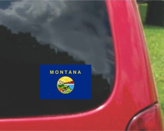 2 Pieces Montana  State Flag Vinyl Decals Stickers Full Color/Weather Proof. U.S.A Free Shipping