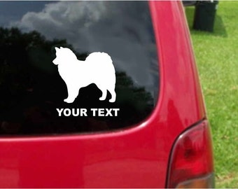 Set (2 Pieces) American Eskimo  Dog  Sticker Decals with custom text 20 Colors To Choose From.  U.S.A Free Shipping