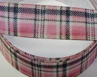 7/8 inch Pink Plaid - PREPPY - Printed Grosgrain Ribbon for Hair Bow