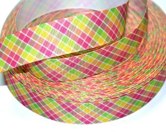 7/8 inch  Preppy Plaid (Pink, Yellow, Lime, Orange)   -  Printed Grosgrain Ribbon for Hairbow