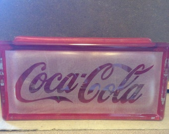 coca cola etched glass block