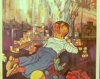 1932 Boy with Blocks Matted Vintage Children's Print