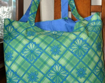 Green and Blue Decorative Tote Bag, totes, bags, cotton bag, tote bag, beach /pool bag