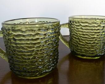 Olive Green Anchor Hocking Serano 1960s Glass Mugs (Set of 10)