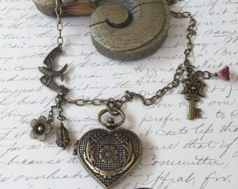 Locket Necklace-  Steampunk Locket-Heart Locket Necklace-Bird Freedom-Whimsical Necklace-Key Necklace- Handmade Necklace-Sparrow Locket
