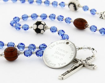 Engraved Sports Rosary, Boy Rosary, First Communion Rosary, Boy Communion Gift, Confirmation Rosary, Baptism Rosary, Rosary, MultiSportC9