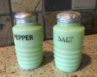 Vintage Jadeite Salt and Pepper Shakers, Green Glass Shakers, Jadeite Salt & Pepper