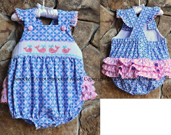 Smocked Whale Ruffle Butt Bubble- Blue/Pink Circle Polka Dots