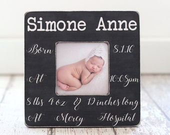 New Baby Gift Birth Hospital Announcement Personalized Picture Frame Baby Name Stats