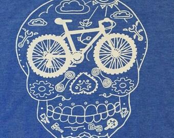 New color! Men's MTB sugar skull bicycle t shirt! Unique bike t shirt! Day of the dead bike shirt! Mountain bike t shirt!