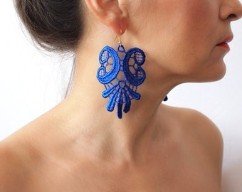 Blue Lace Earrings, Dangle Earrings, Statement Earrings, Boho Earrings