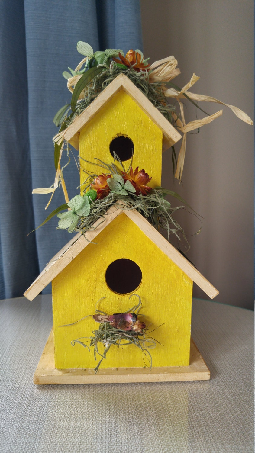 Spring Yellow Dried Flower Birdhouse Rustic Home Decor Garden Home Decorators Catalog Best Ideas of Home Decor and Design [homedecoratorscatalog.us]