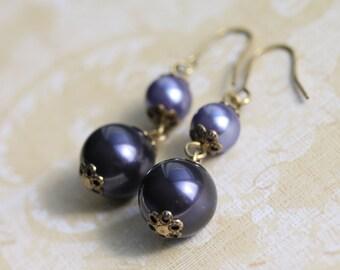 Purple Pearl and Brass Dangle Earrings