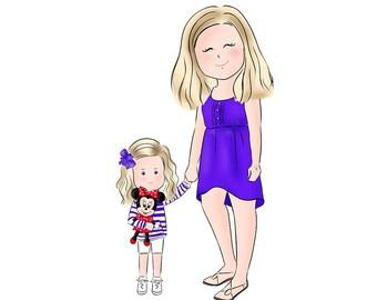 Mother's Day Gift, Custom Portrait, Gift for Mom, Custom Illustration, Cartoon/ Doodle Drawing (Digital)