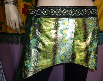 Green Tribal-Fusion-Snakeprint Hipscarf, Tribal Fusion Dance, Tribal Fusion Costume, Snake Costume