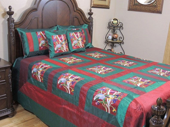 Peacock Embroidered Indian Bedding Set Persian Green And