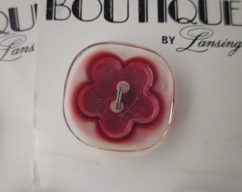 4 Vintage Clear Plastic Buttons with Red Flower Center on 2 Cards