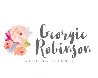Premade Logo Design - Watercolor Flowers - Photography Logo - Small Business - Floral Business Logo - Brushed Font - Handwritten
