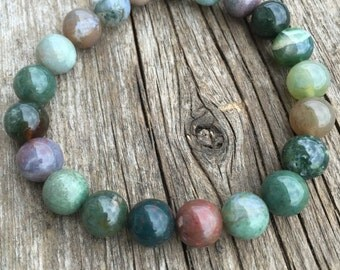 Indian Agate  Bracelet  Healing Strength  Harmony  Protection Confidence