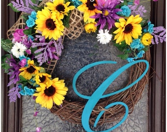 Spring Wreath, Spring Grapevine Wreath, Grapevine Wreath, Sunflower Wreath, Spring Monogram Wreath, Summer Wreath