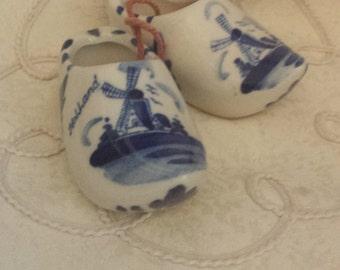 Pair of Dutch Clogs Delfts Blue Handpainted Holland