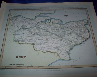 "Map of ""Kent by R. Creighton and J & C. Walker, 1831"" Print"