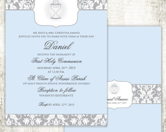 Boy COMMUNION Christening Confirmation Religious Invitation // Blue // Cup // Filigree // PRINTED Invites