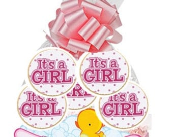 6pack Its A Girl Decorated Sugar Cookies Basket