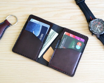Credit card case in Horween leather / Wallet, business card, purse in Burgundy Horween Horse Chromexcel leather