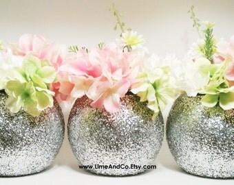 Wedding Centerpieces, Silver Wedding Decor, Flower Vase Centerpieces, Graduation Party Decorations, Glitter, Birthday Centerpieces, Set of 3