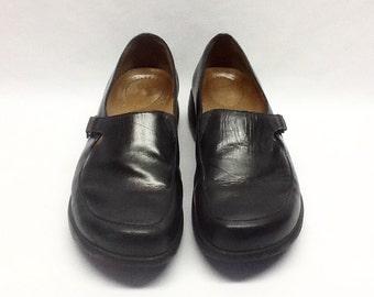 DANSKO Black Leather Slip-On Loafers / 38 / US 7 1/2-8M