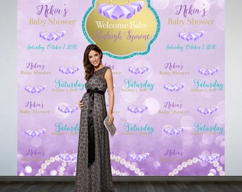 Tutu's and Pearl Baby Shower Backdrop- Photo Backdrop- Ballerina Baby Shower Backdrop, Step and Repeat Backdrop, Custom Photo Backdrop