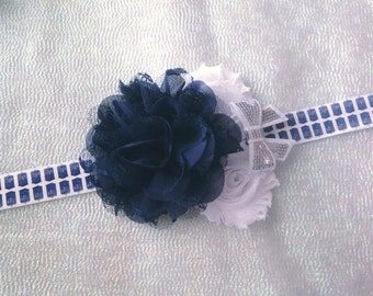 Dr. Who Headband/Newborn Headband/Infant Headband/Toddler Bow/Shabby Flower Headband