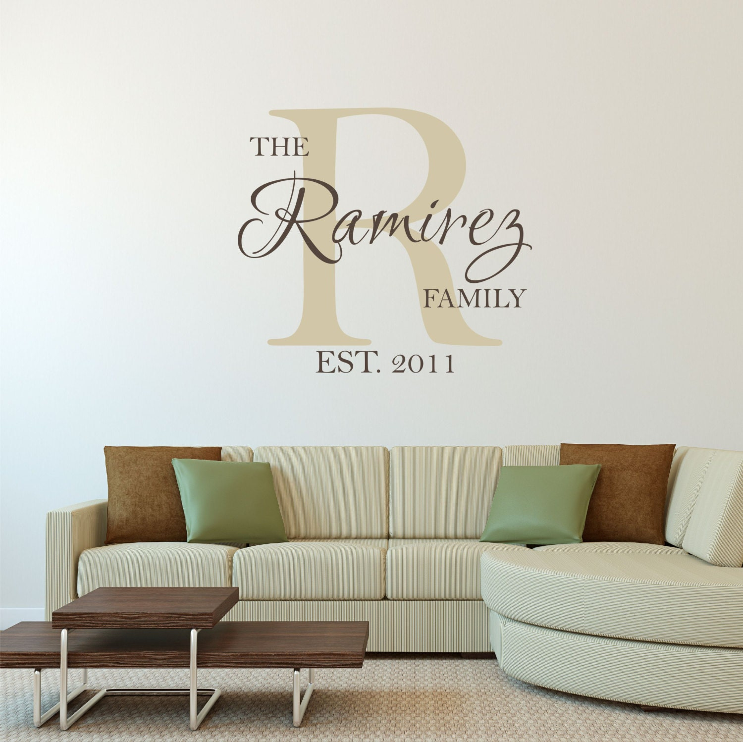 personalized family name wall decal sticker. Black Bedroom Furniture Sets. Home Design Ideas