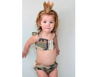 FREE SHIPPING - Made to order Baby swimsuit CAMOUFLAGE - Baby bathing suit 6m 12m 18m 24m 3T 4T 5T 6T - Toddler bathers - Baby girl swimsuit