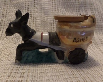 Vintage Ceramic donkey with cart marked ashes, lid wood marked Georgia