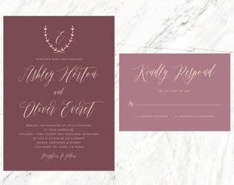 Rustic Wedding Invitation, Vineyard Wedding, Tuscan Invitation, Burgundy Invitation, Marsala Invitation