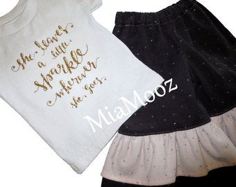 She Leaves A Little Sparkle ~ .... Corduroy Ruffle Pants & Tee Outfit ~ 12m - 4t