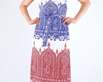 Lovely Vintage 70's Dead Stock Ethnic Vibe Wrap Around Backless Summer Maxi Dress