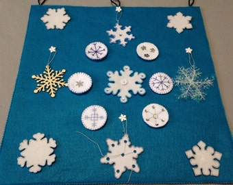 Snowflakes flying in the sky educational buttoning, Velcro and snap on activity- felt story- different shapes- lacing- texture feeling