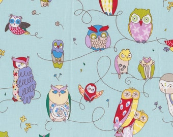 Spotted Owl in Blue by Alexander Henry -Quilting Cotton Fabric - OOP