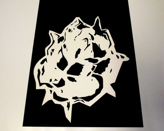 A4 Abstract Rose Mono-Print