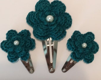Floral Crocheted Hair Clip Set of 3