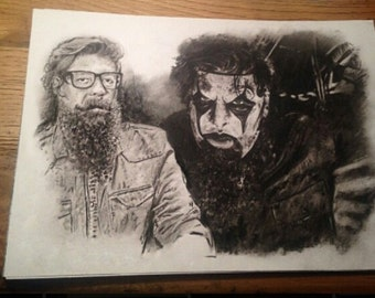 Original Hand drawn charcoal pencil drawing - Jim Root - SLIPKNOT