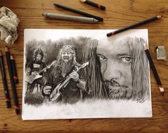 ORIGINAL Hand drawn charcoal pencil portrait - Pepper Keenan - Corrosion of Conformity / DOWN - Size A4