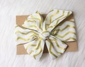Gold Chevron Head wrap- gold and white head wrap, baby head wrap, girls headband, gold chevron headwrap