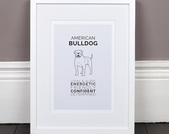 American Bulldog Print Gift Picture Art Artwork Illustration Text Typography