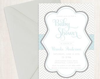 Printable Baby Shower Invitation | Grey, White & Blue Invitation | Chevron | Baby Shower | Baby Sprinkle | Boy | PDF or Printed Invites