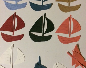 10 little sailing boat cardstock die cuts in assorted colours
