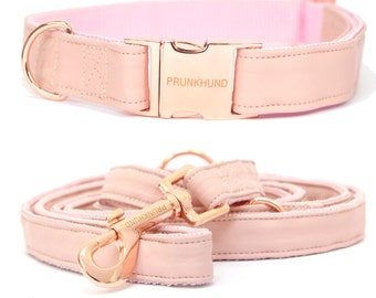 Dog collar BLUSH with rose gold colored hardware - handmade - pastel